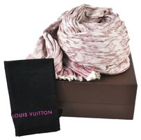 Louis Vuitton Auth LOUIS VUITTON Stole Scarf Fringe Pink Monogram Design Vintage Box LP06298