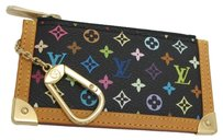 Louis Vuitton Authentic Louis Vuitton Multicolore Monogram Noir Cles Coin Purse with Natural Interior