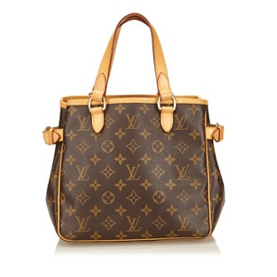 Louis Vuitton Brown Canvas Leather Tote