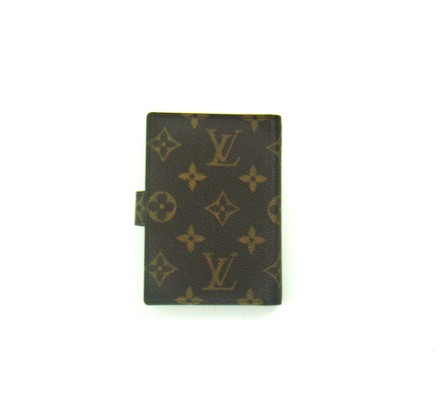 Louis Vuitton Monogram Canvas Leather Mini Agenda Notebook Planner Cover Gold Stylus