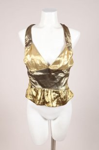 Louis Vuitton Gold Silk Lame Top