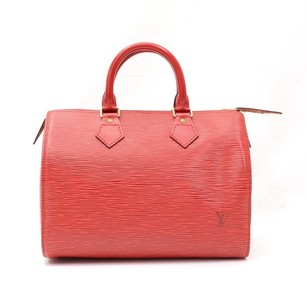 Louis Vuitton Leather Red Travel Bag