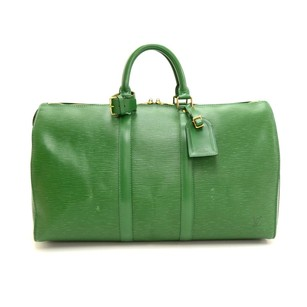 Louis Vuitton Leather Travel Green Travel Bag