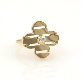 Louis Vuitton Louis Vuitton Petite Fleur Diamond 18k Yellow Gold Floral Ring 4.75