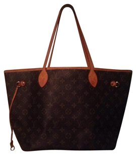 Louis Vuitton Neverfull Mm Gm Monogram Tote in Brown