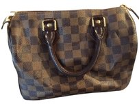 Louis Vuitton Speedy Leather Tote in Brown Checker