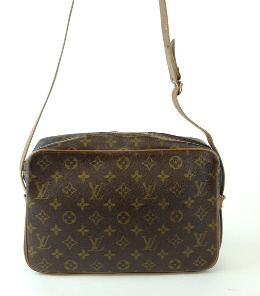 louis vuitton vintage monogram canvas leather long strap zipper handbag bag brown monogram tradesy. Black Bedroom Furniture Sets. Home Design Ideas