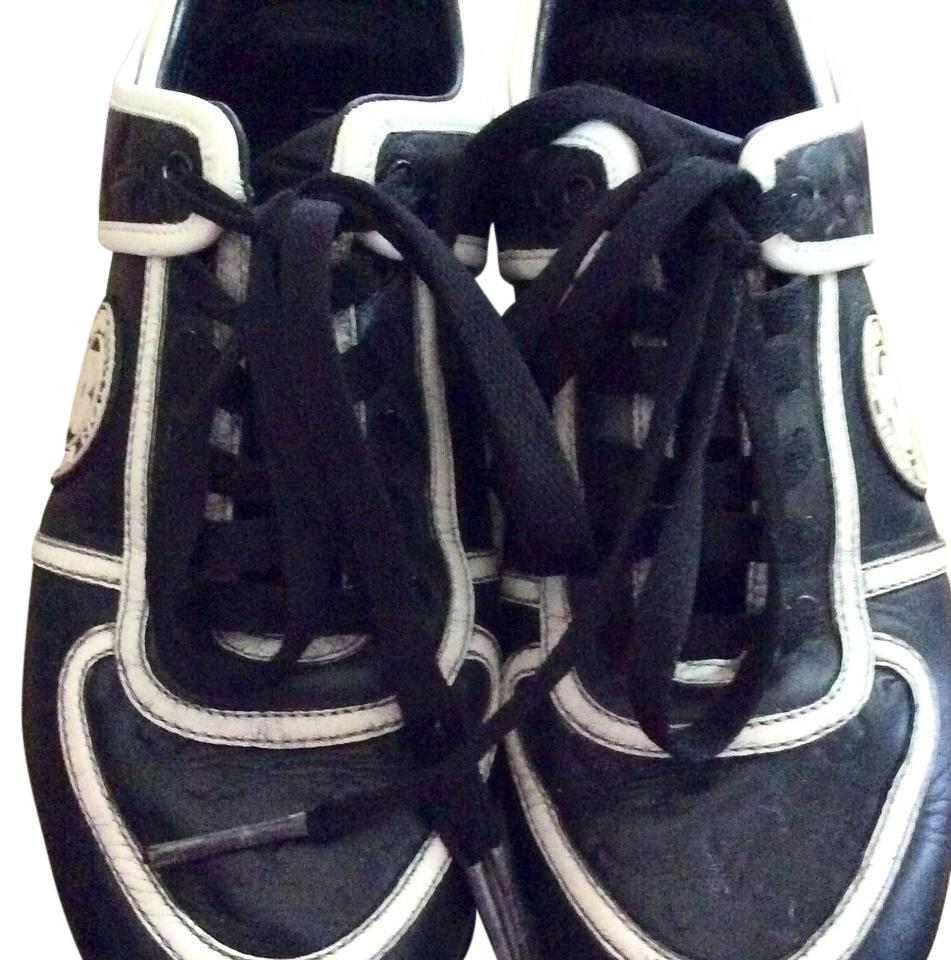 Louis Vuitton Women's White Black Leather Sneakers Sz 36 6US