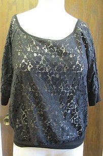 Love on a Hanger Cotton Nylon Half Sheer Lace G017 Top Black