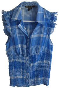 Love Stitch Blue Stripes Plaid Chiffon Sheer Summer Country Ruffle Rouching Top Blue Check