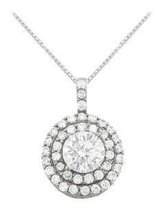LoveBrightJewelry Cubic Zirconia Halo Pendant in Sterling Silver 2.50 CT TGW,Perfect Jewelry for Women