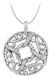 LoveBrightJewelry 0.25 Carat Total Cubic Zirconia in Sterling Silver Fancy Circle Fashion Pendant