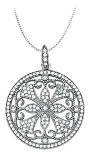 LoveBrightJewelry 0.75 Carat Total Cubic Zirconia in Sterling Silver Floral Circle Fashion Pendant