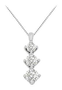 LoveBrightJewelry 1 carat cubic zirconia necklace in white gold 14k pendant with total gem weight of 1.90 carat