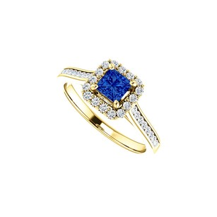 LoveBrightJewelry 1 CT Channel Set CZ Accented Sapphire Halo Ring Gold