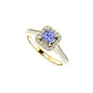 LoveBrightJewelry 1 CT Channel Set CZ Accented Tanzanite Halo Ring Gold