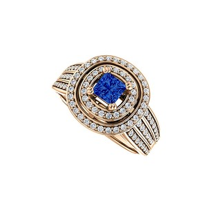 LoveBrightJewelry 1 ct tw Double Halo Sapphire CZ Three Rows Ring Vermeil