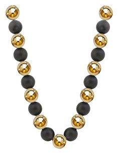 LoveBrightJewelry 10 MM Black Onyx and Yellow Beads Necklace with 14K Yellow Gold filigree lock