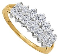 LoveBrightJewelry 1.00 Carat CZ Pyramid and Cluster Total Weight Ring