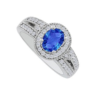 LoveBrightJewelry 1.00 Carat Oval Sapphire Cz Halo Engagement Ring