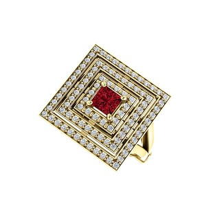 LoveBrightJewelry 1.00 Carat Ruby CZ Square Tripartite Halo Ring Vermeil