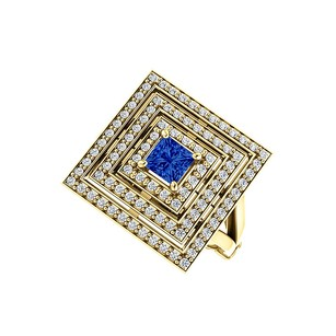 LoveBrightJewelry 1.00 Carat Sapphire and CZ Square Tripartite Halo Ring
