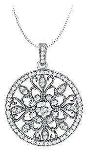 LoveBrightJewelry 1.00 Carat Total Cubic Zirconia in Sterling Silver Floral Circle Fashion Pendant
