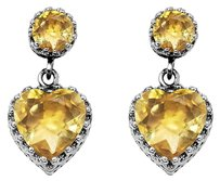 LoveBrightJewelry 10.00 Carat Citrine Heart Stud Earrings Sterling Silver