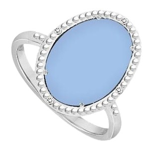 LoveBrightJewelry 10K White Gold Aqua Chalcedony and Diamond Ring 15.08 CT TGW