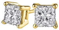 LoveBrightJewelry 14K Gold Push Back Princess Cut Natural Diamond Studs