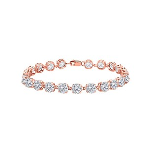 LoveBrightJewelry 14K Rose Gold Vermeil Prong Set Round Cubic Zirconia Bracelet 12.00