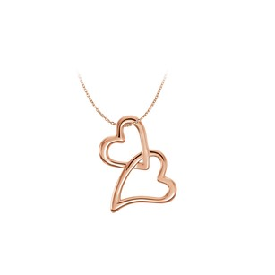 LoveBrightJewelry 14K Rose Gold Vermeil Tilted Heart Chain Slide Pendant