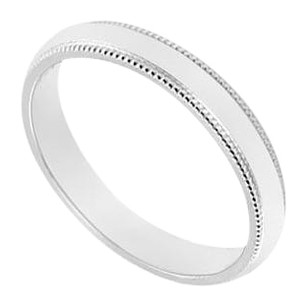 LoveBrightJewelry 14K White Gold 2.5MM Non Comfort Fit Milgrain Wedding Band