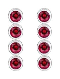 LoveBrightJewelry 14K White Gold Bezel Set Created Ruby Drop Earrings Totaling Ten Carat Gem Weight