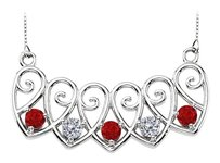 LoveBrightJewelry 14K White Gold Created Rubies and CZ Mothers Necklace Mounting