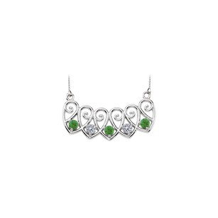 LoveBrightJewelry 14K White Gold Emeralds and Diamonds Mothers Necklace Mounting