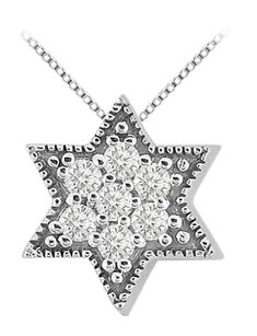 LoveBrightJewelry 14K White Gold Jewish Star Pendant with Cubic Zirconia 0.35 Carat Total Gem Weight