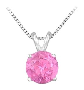 LoveBrightJewelry 14K White Gold Prong Set Created Pink Sapphire Solitaire Pendant 0.25 CT TGW