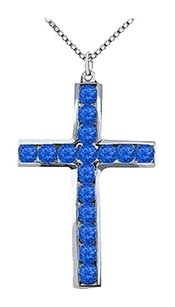 LoveBrightJewelry 14K White Gold Religious Cross with Natural Blue Sapphire Pendant of 0.50 Carat Total Gem Weight