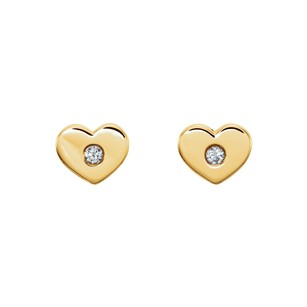 LoveBrightJewelry 14K Yellow Gold CZ Heart Studs on The Eve of Valentine