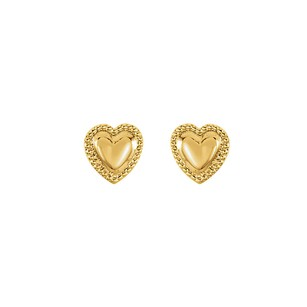 LoveBrightJewelry 14K Yellow Gold Heart Youth Earrings with Push Back