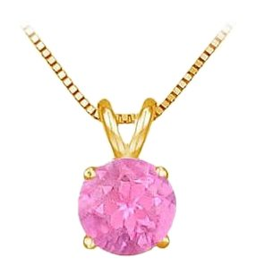 LoveBrightJewelry 14K Yellow Gold Prong Set Created Pink Sapphire Solitaire Pendant 0.50 CT TGW
