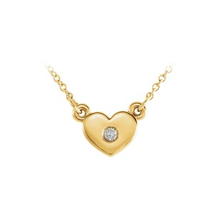 LoveBrightJewelry 18K Yellow Gold Vermeil Cubic Zirconia Heart Necklace