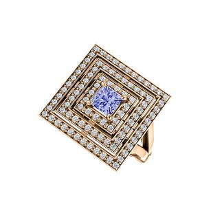 LoveBrightJewelry 1ct tw Tanzanite CZ Square Tripartite Halo Ring Vermeil