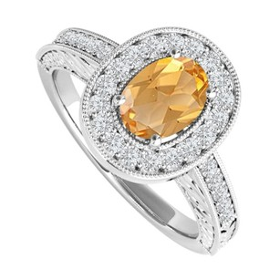 LoveBrightJewelry 2 Ct Oval Citrine And Cubic Zirconia Engagement Ring