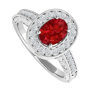 LoveBrightJewelry 2 Ct Oval Ruby And Cz Engagement Ring Sterling Silver