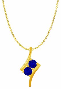 LoveBrightJewelry 2 Stone Sapphire Freeform Pendant in 14K Yellow Gold