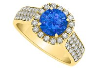 LoveBrightJewelry Sapphire And Cubic Zirconia Wide Shank Halo Ring In 18k Yellow Gold