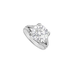 LoveBrightJewelry Sterling Silver Cubic Zirconia Engagement Ring