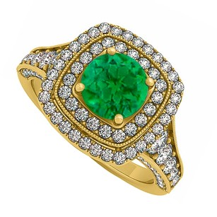LoveBrightJewelry Created Emerald And Cz Double Halo Yellow Gold Vermeil Engagement Ring